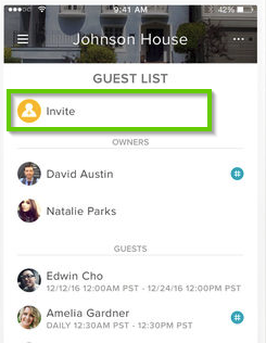 August Home app showing the invite button.