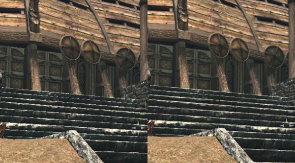 Skyrim screenshots. Anti aliasing is off on the left