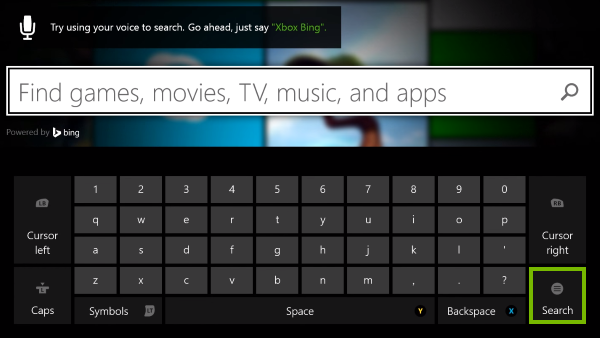 Search option highlighted on on-screen keyboard.