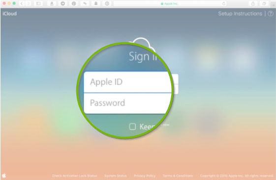 iCloud.com sign in screen.