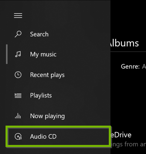Groove Music my music menu with audio CD highlighted.