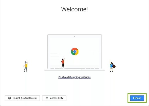 Chromebook Setup welcome screen with Let's Go button highlighted.