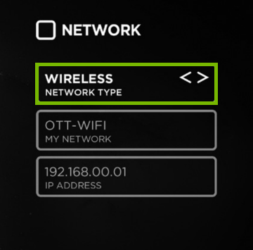 Smart TV network settings menu