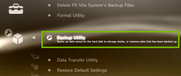 System settings menu with Backup Utility highlighted. Screenshot