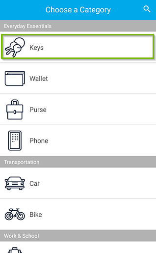 Category selection screen with various options such as Keys, wallet, purse. Screenshot.
