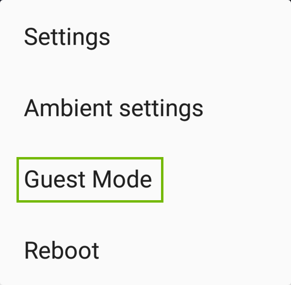 Chromecast device menu with Guest Mode highlighted.
