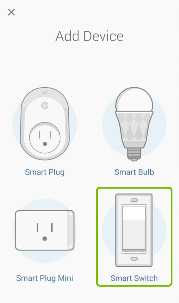 Smart Switch highlighted in device selection list of Kasa app.