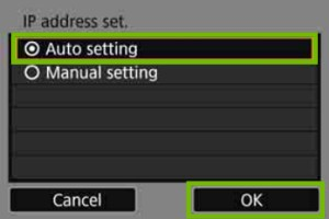 IP address set with auto setting highlighted