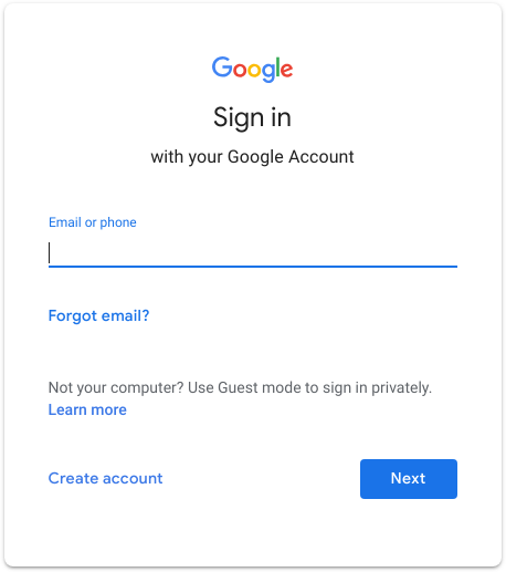 Google User and Password Prompt.