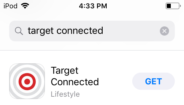 Search for Target Connected in Apple App Store.