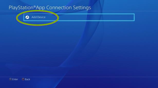 PlayStation App Connection Settings with Add Device selected. Screenshot.