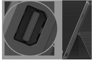 surface pro right edge, indicating the mini-DisplayPort