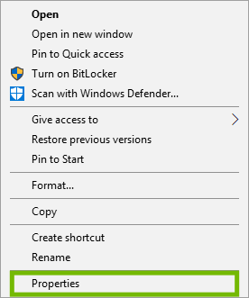 Drive menu with Properties highlighted.