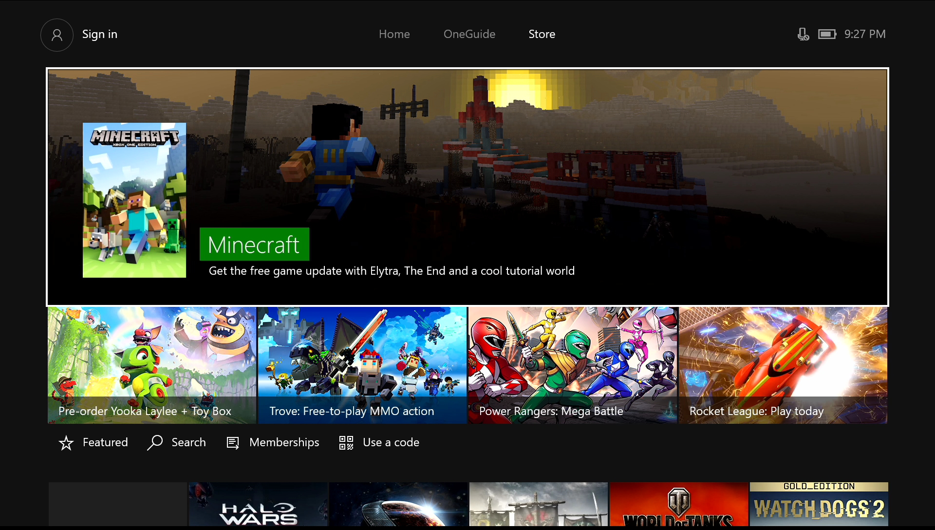 Xbox One store page.