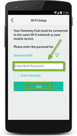 Harmony app prompting for the current Wi-Fi network's password with the join button highlighted.
