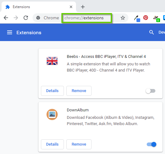 Windows 10 chrome showing the extensions