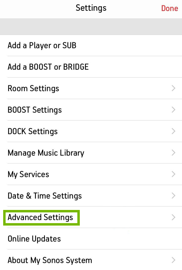 screenshot of settings with advanced settings highlighted