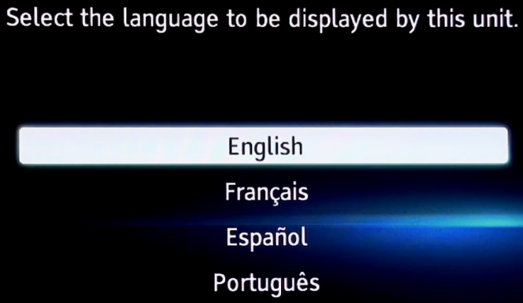 Language selection screen in initial setup