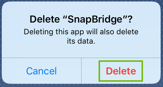 Delete dialog with Delete highlighted.