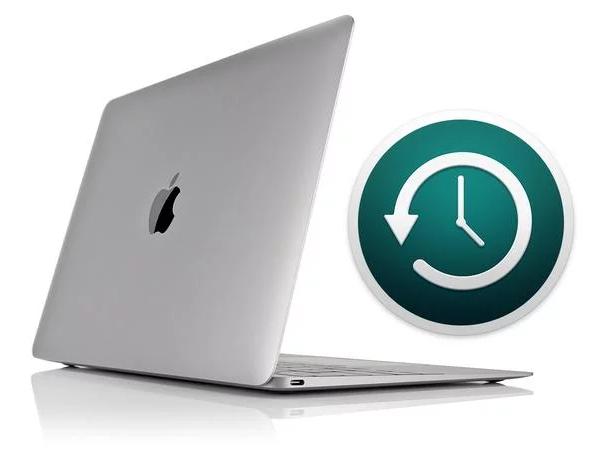 Mac with Time Machine logo.