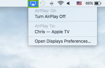 Airplay menu highlighted