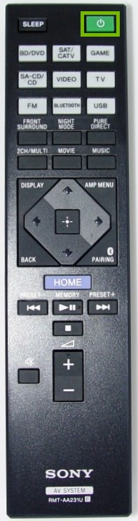 Remote control with the power button highlighted.