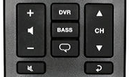 Volume, channel, and program controls section of remote.