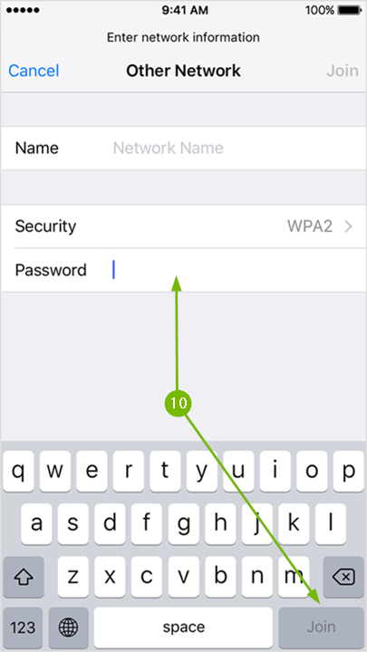 Wi-Fi Other Network page with arrow pointing to the password field and another arrow pointing to the Join button.