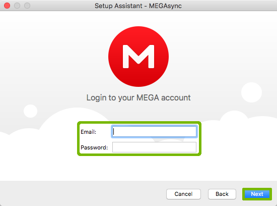 MegaSync login with email password and next button highlighted.