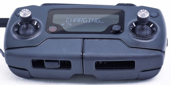 Remote control screen showing the battery is charging.