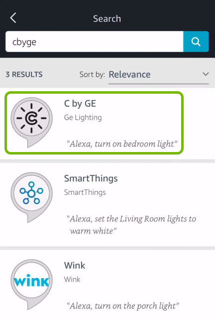 C by GE Alexa skill highlighted in search results of Alexa app.