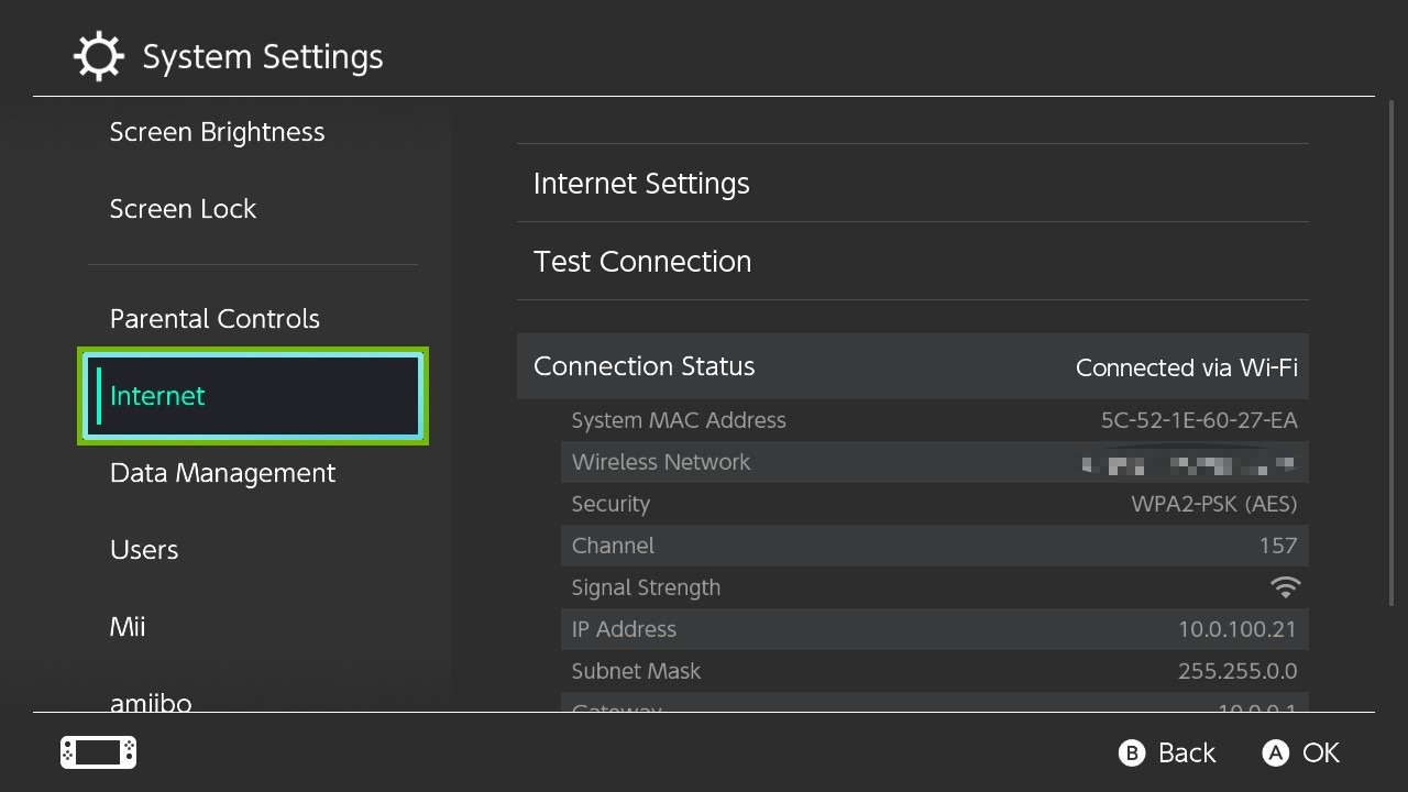 System Settings with Internet highlighted