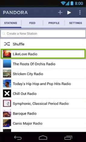 Pandora app highlighting a desired radio station to begin playing.