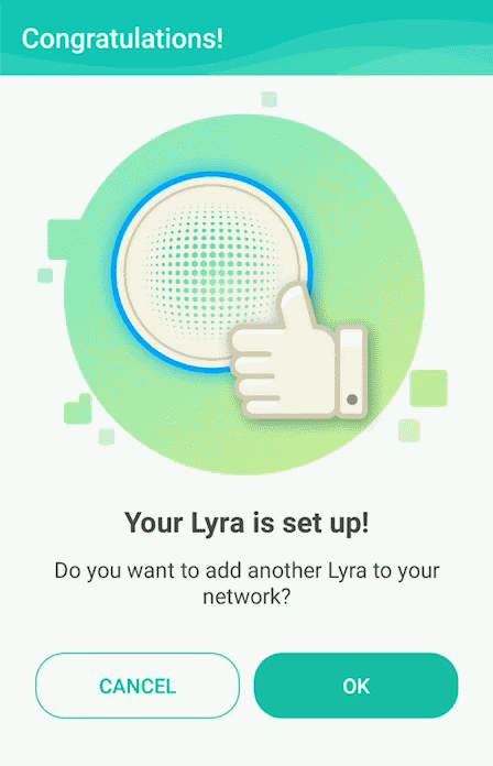 Primary hub setup completion screen of ASUS Lyra app.