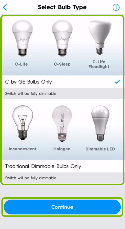 Bulb categories and Continue button highlighted on bulb type selection screen in C by GE app.