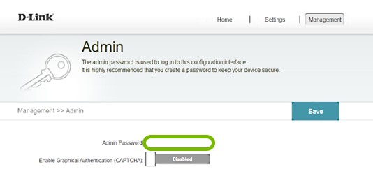 Password entry field highlighted in range extender web interface.