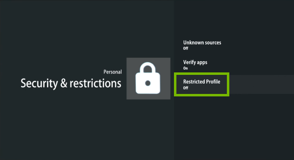 Restricted profile option highlighted in Android TV settings.