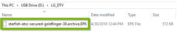Firmware EPK file in the LG_DTV folder. Screenshot.