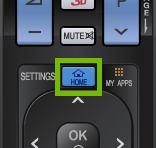 Remote inset with home button highlighted.