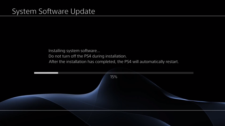 Installation in progress on System Software Update screen.