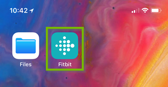iOS home screen highlighting the FitBit app.