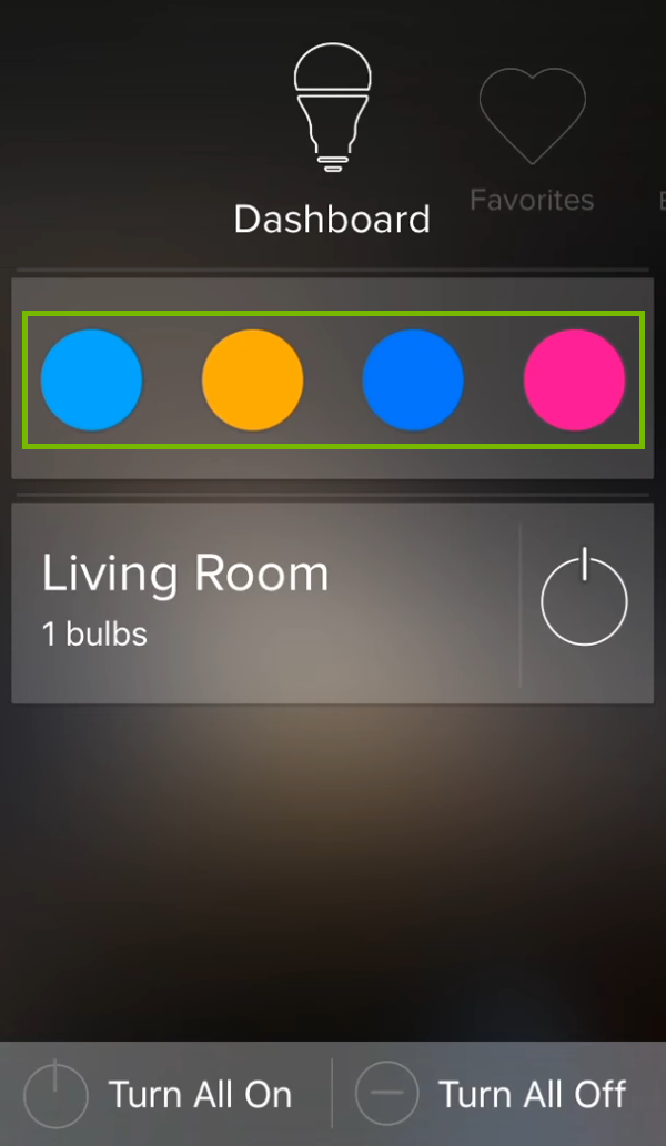 Recent colors highlighted for selected group in ilumi app.