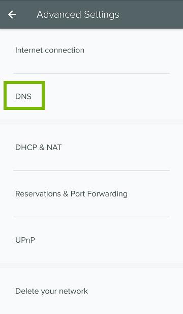 Advanced settings menu showing DNS selected