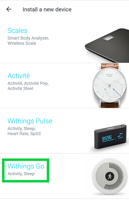 install new device with withings go highlighted
