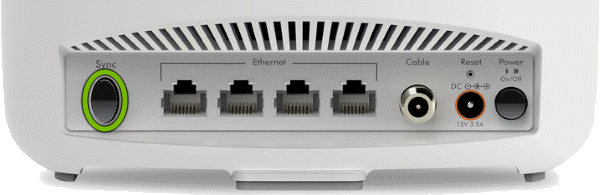 Sync button highlighted on rear of Orbi Cable Modem Router.