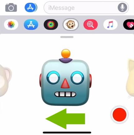Green arrow showing direction to scroll in the Animoji menu on iOS.