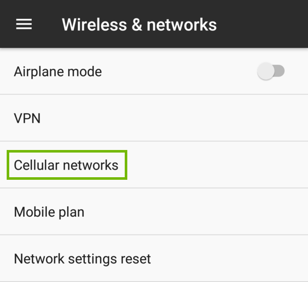 More wireless and network settings with Cellular networks highlighted.