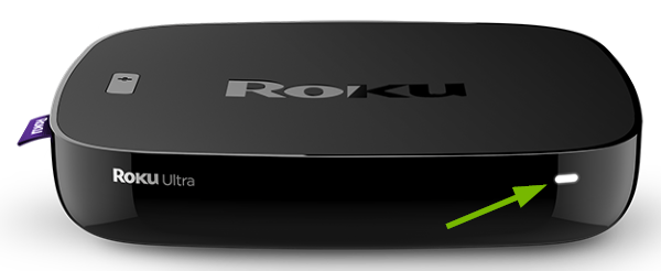 White light pointed out on front of Roku device.
