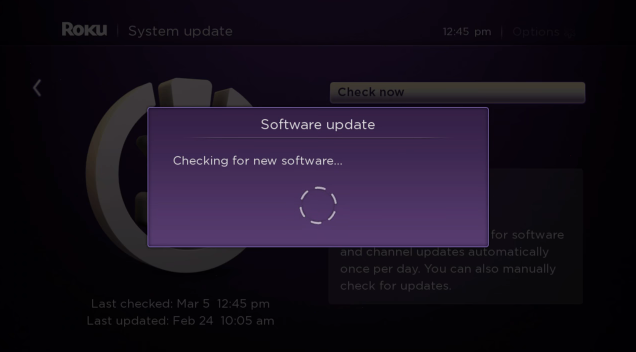 Software update progress window.