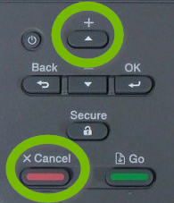 Printer control panel with Up and Cancel buttons selected.